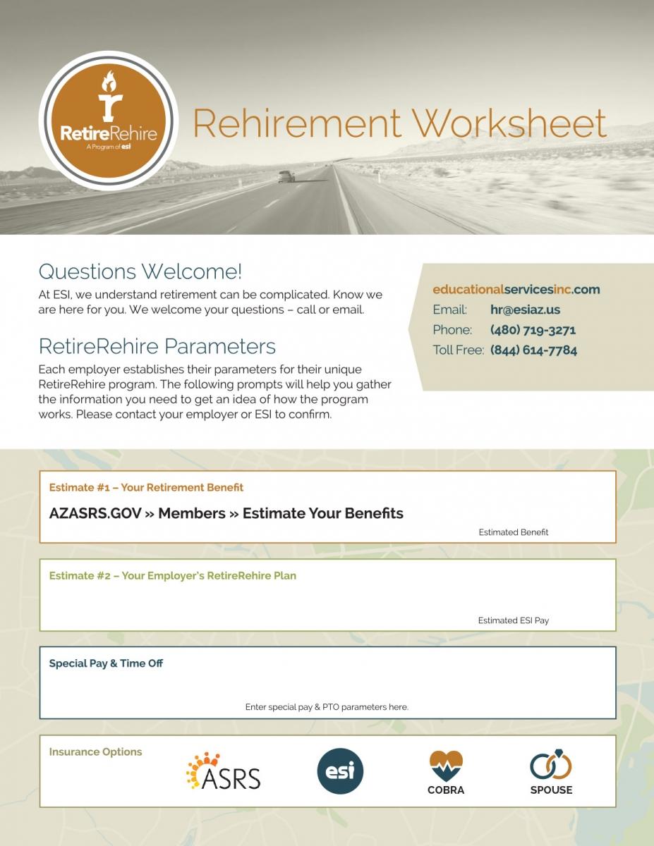 RetireRehire Worksheet, page 1